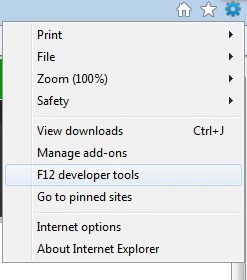 Development tools location in the Tools menu
