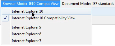 Turning off Compatibility View through Development Tools in IE 10