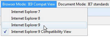 Turning off Compatibility View through Development Tools in IE 9